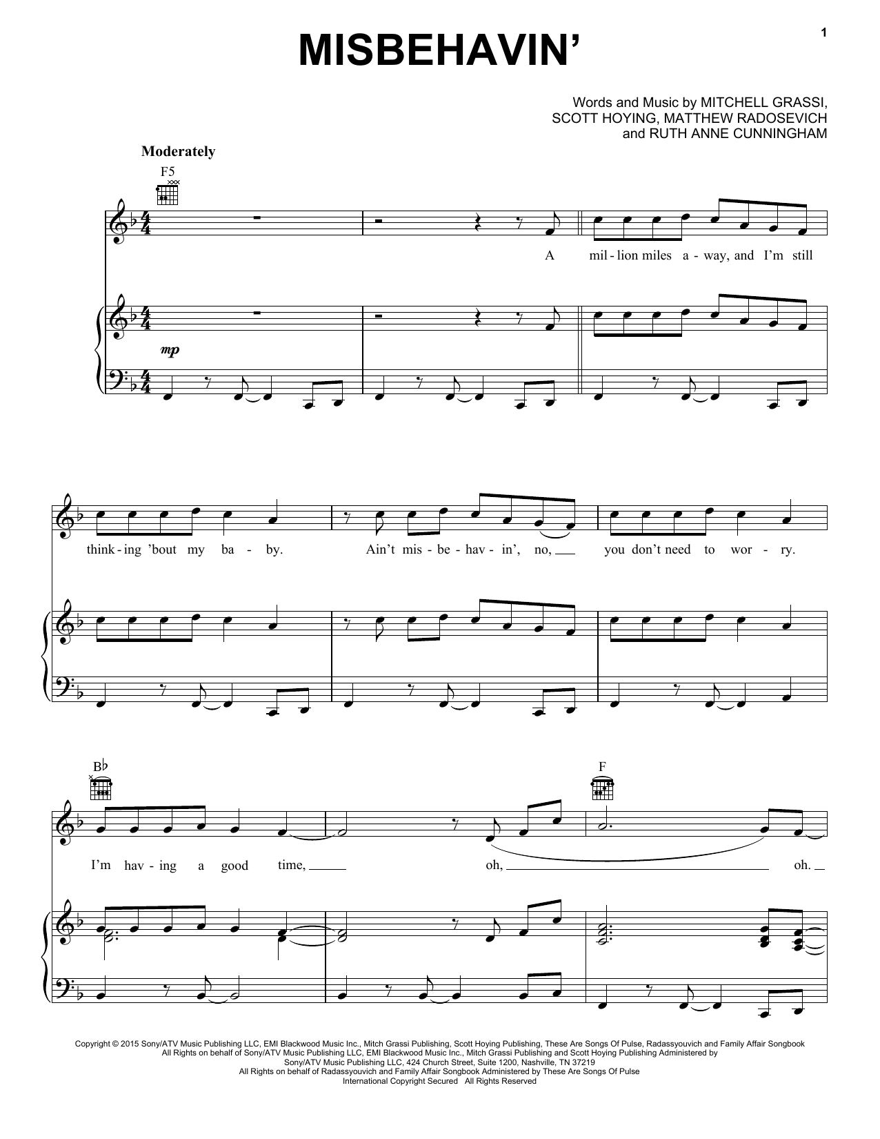 Pentatonix Misbehavin' sheet music notes and chords. Download Printable PDF.