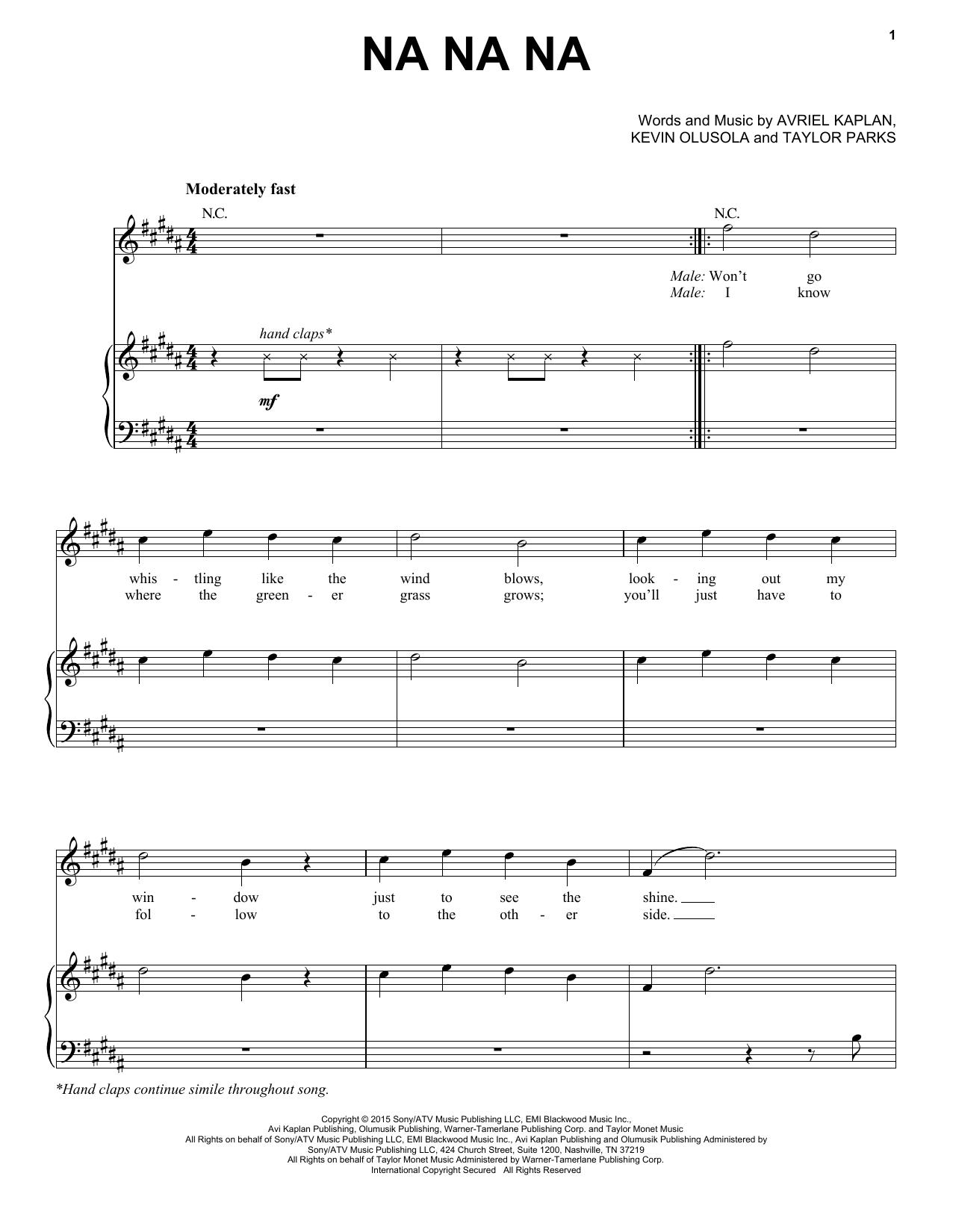 Pentatonix Na Na Na sheet music notes and chords. Download Printable PDF.