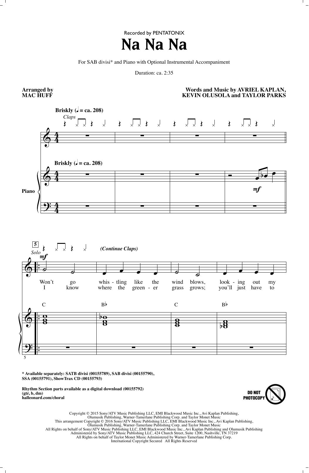Pentatonix Na Na Na (arr. Mac Huff) sheet music notes and chords. Download Printable PDF.