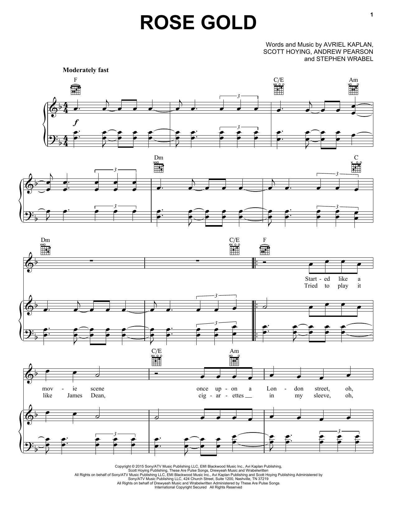 Pentatonix Rose Gold sheet music notes and chords