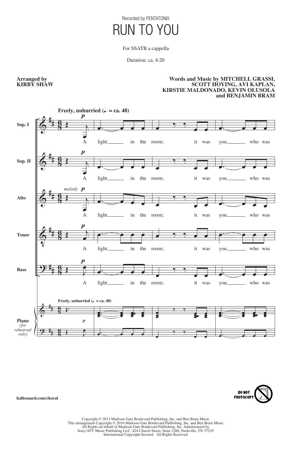Pentatonix Run To You (arr. Kirby Shaw) sheet music notes and chords. Download Printable PDF.