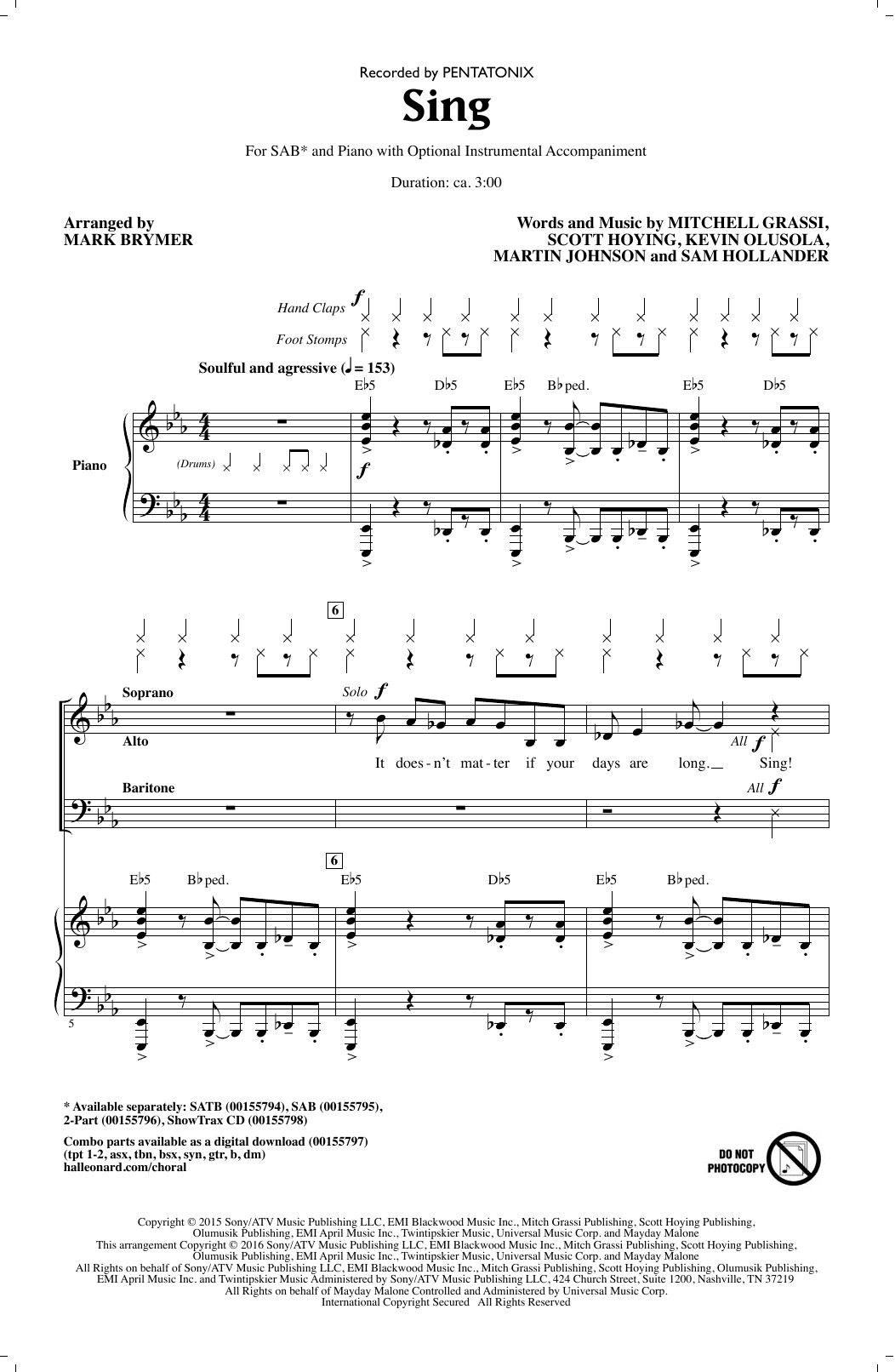 Pentatonix Sing (arr. Mark Brymer) sheet music notes and chords