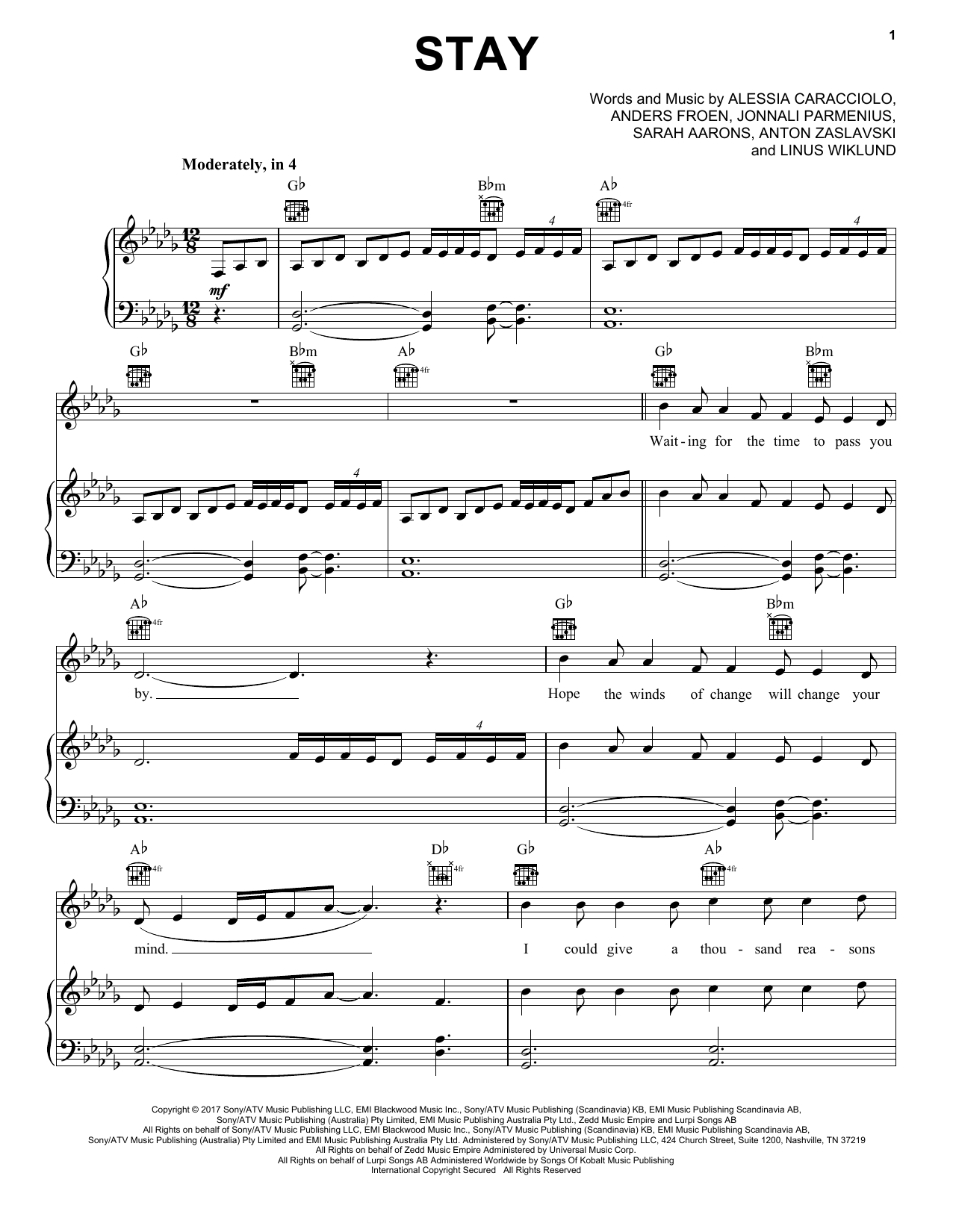 Pentatonix Stay sheet music notes and chords. Download Printable PDF.