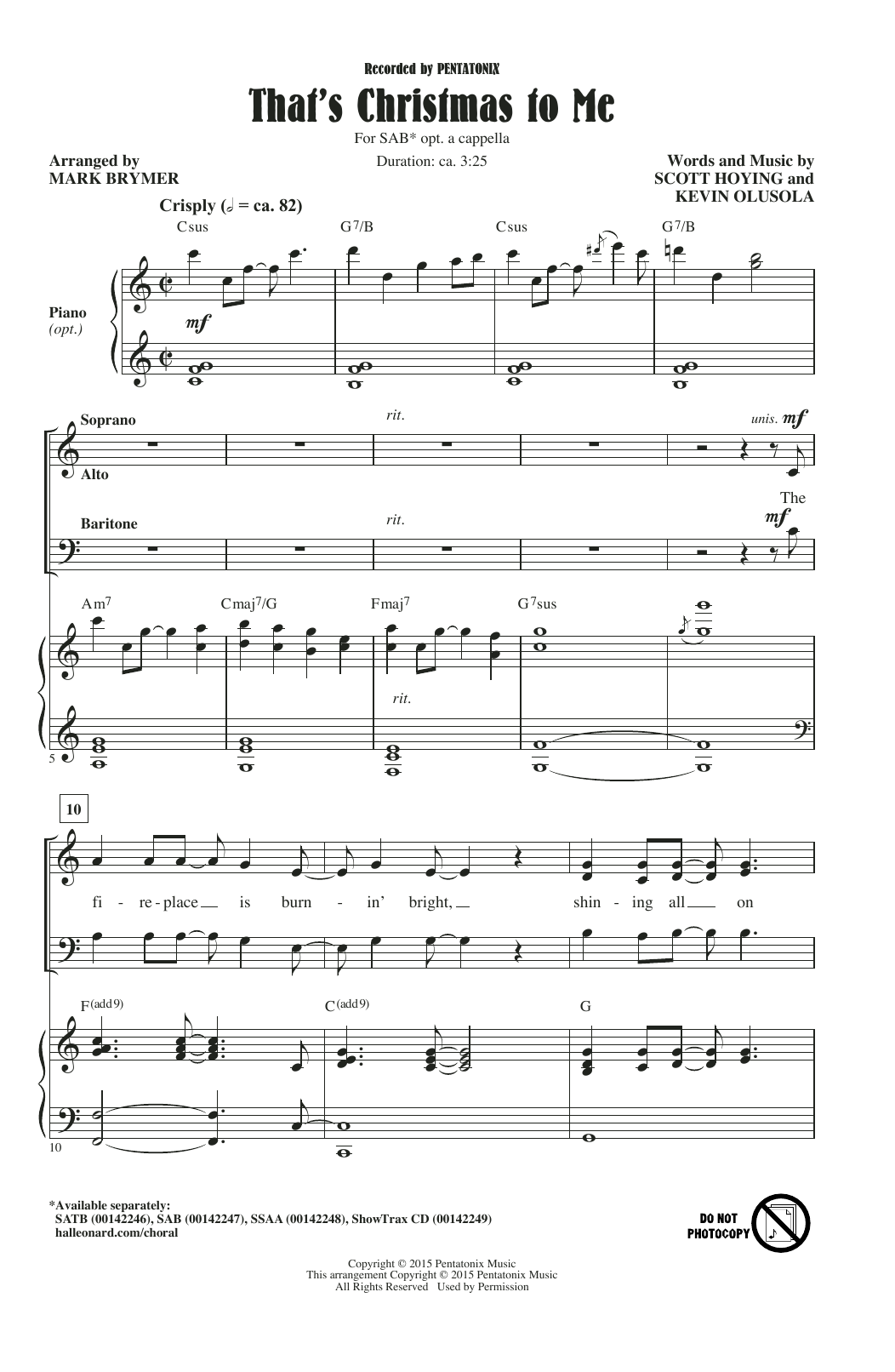 Pentatonix That's Christmas To Me (arr. Mark Brymer) sheet music notes and chords. Download Printable PDF.