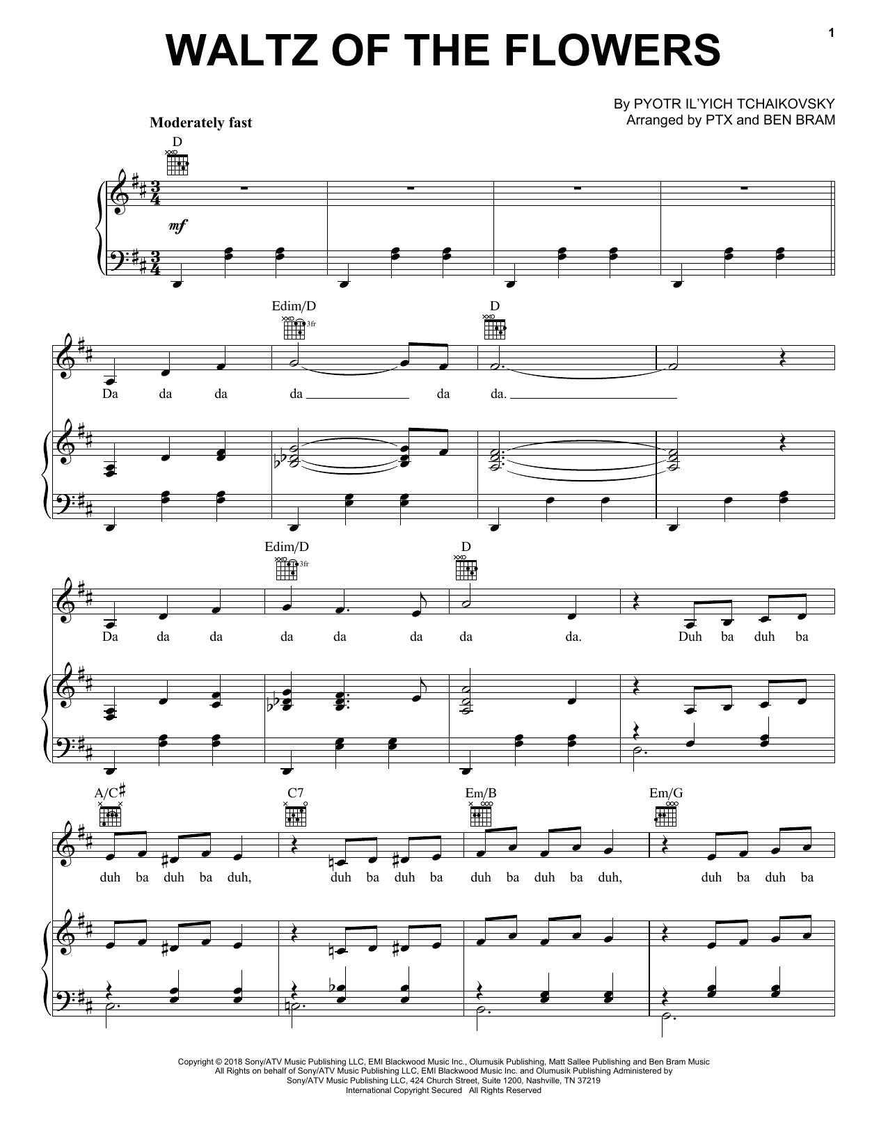 Pentatonix Waltz Of The Flowers sheet music notes and chords