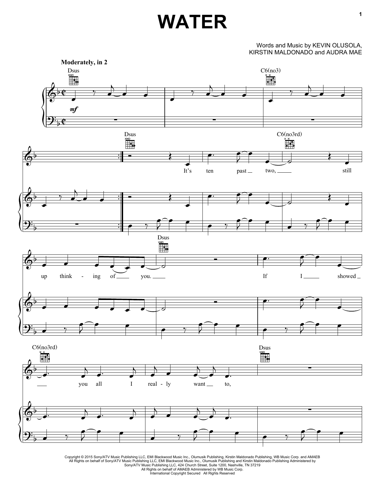 Pentatonix Water sheet music notes and chords