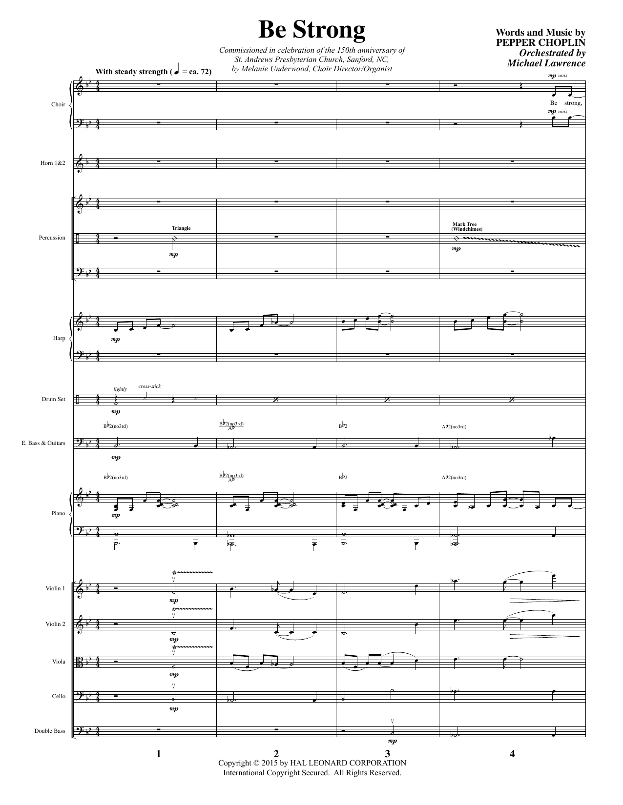 Pepper Choplin Be Strong - Full Score sheet music notes and chords. Download Printable PDF.