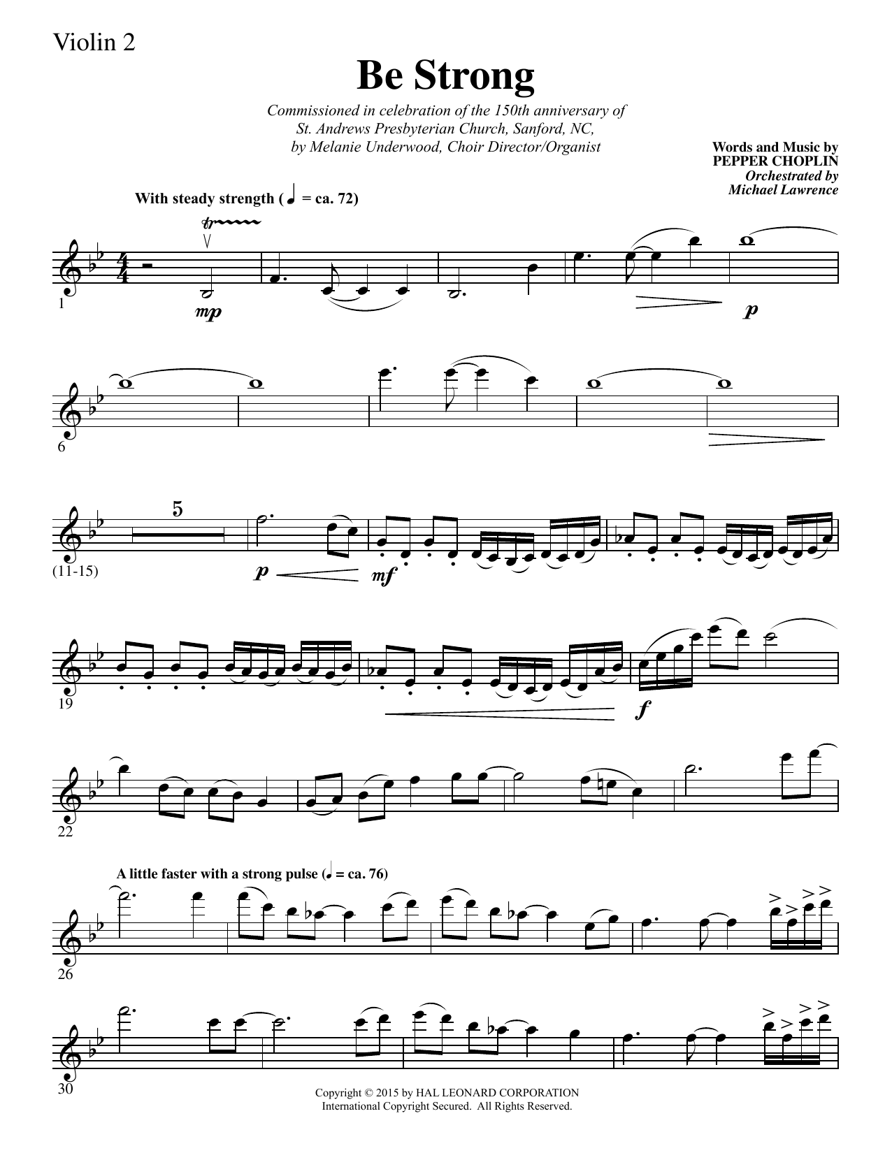 Pepper Choplin Be Strong - Violin 2 sheet music notes and chords. Download Printable PDF.