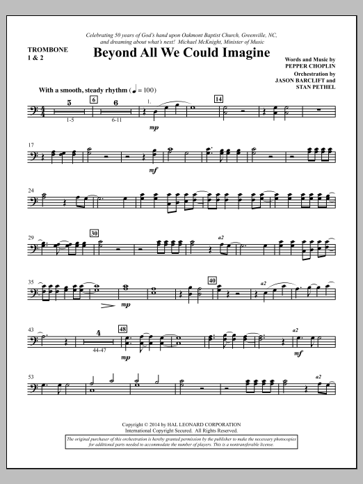 Pepper Choplin Beyond All We Could Imagine - Trombone 1 & 2 sheet music notes and chords. Download Printable PDF.