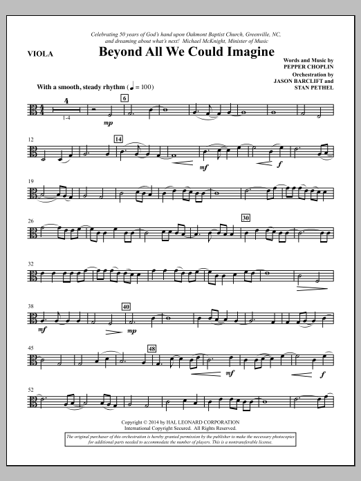 Pepper Choplin Beyond All We Could Imagine - Viola sheet music notes and chords. Download Printable PDF.