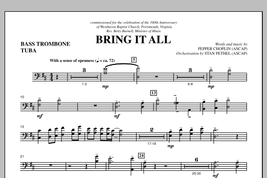 Pepper Choplin Bring It All - Bass Trombone/Tuba sheet music notes and chords. Download Printable PDF.