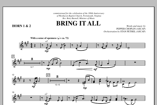 Pepper Choplin Bring It All - F Horn 1,2 sheet music notes and chords. Download Printable PDF.