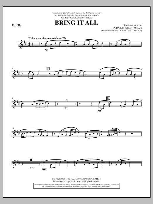 Pepper Choplin Bring It All - Oboe sheet music notes and chords. Download Printable PDF.