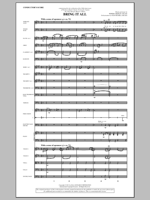 Pepper Choplin Bring It All - Score sheet music notes and chords. Download Printable PDF.