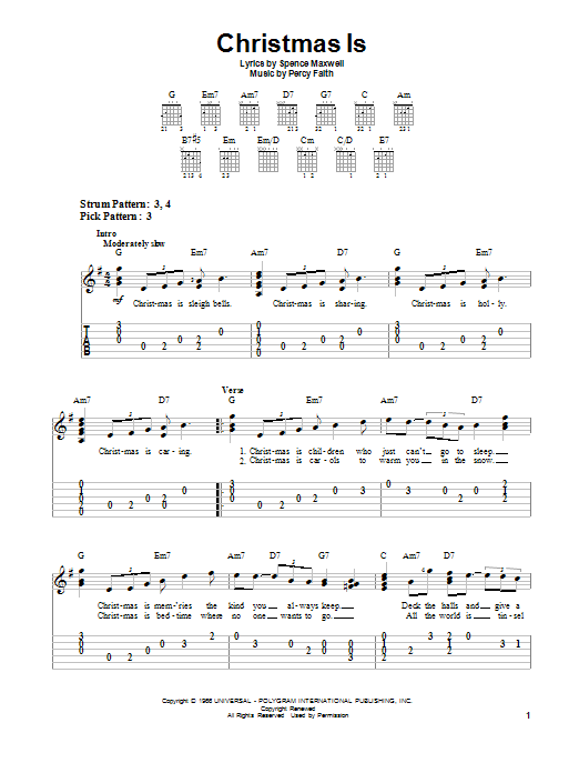 Percy Faith Christmas Is sheet music notes and chords. Download Printable PDF.