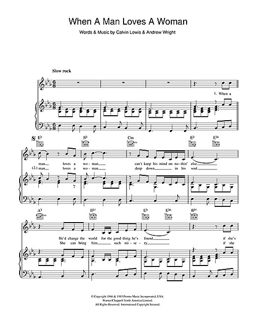 Percy Sledge When A Man Loves A Woman sheet music notes and chords. Download Printable PDF.