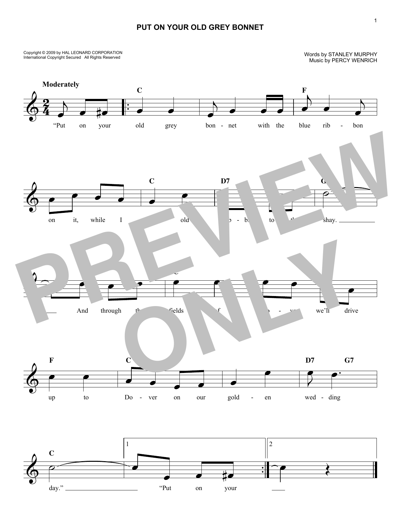 Percy Wenrich Put On Your Old Grey Bonnet sheet music notes and chords. Download Printable PDF.