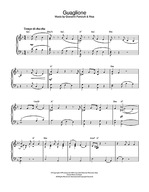 Perez Prado Guaglione sheet music notes and chords