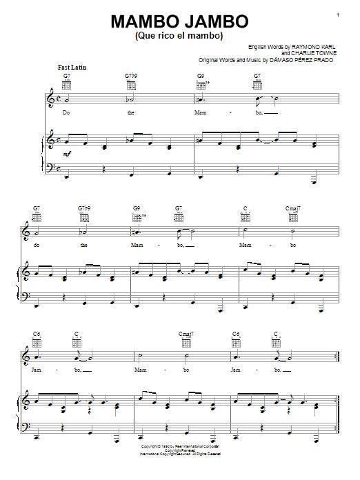 Perez Prado Mambo Jambo (Que Rico El Mambo) sheet music notes and chords