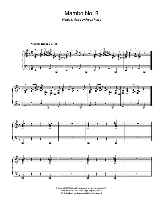 Perez Prado Mambo No. 8 sheet music notes and chords