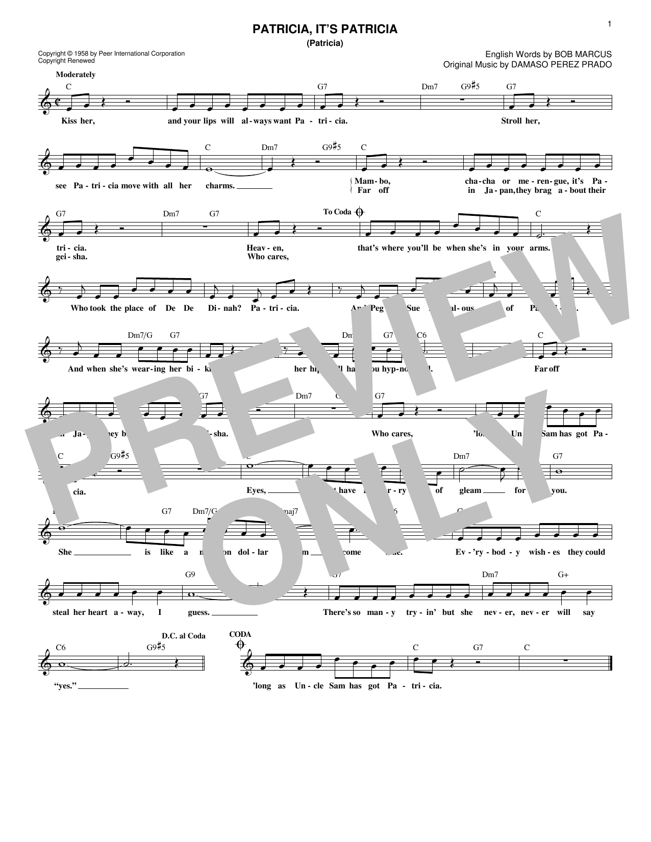 Perez Prado And His Orchestra Patricia, It's Patricia (Patricia) sheet music notes and chords