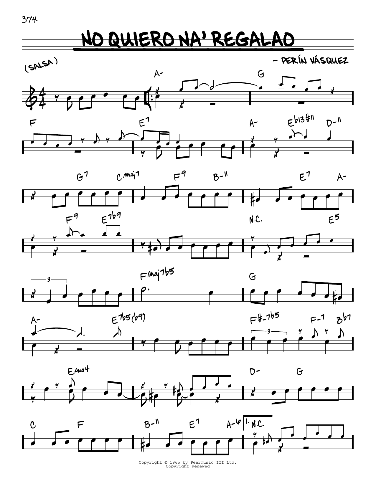 Perin Vasquez No Quiero Na' Regalao sheet music notes and chords. Download Printable PDF.
