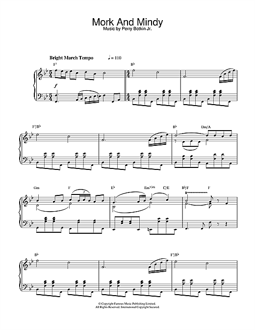 Perry Botkin Jr. Mork And Mindy sheet music notes and chords. Download Printable PDF.