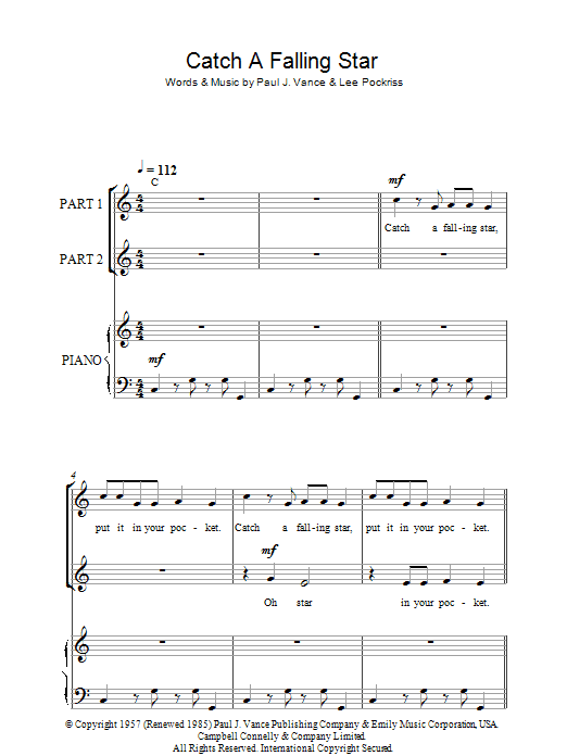 Perry Como Catch A Falling Star sheet music notes and chords. Download Printable PDF.