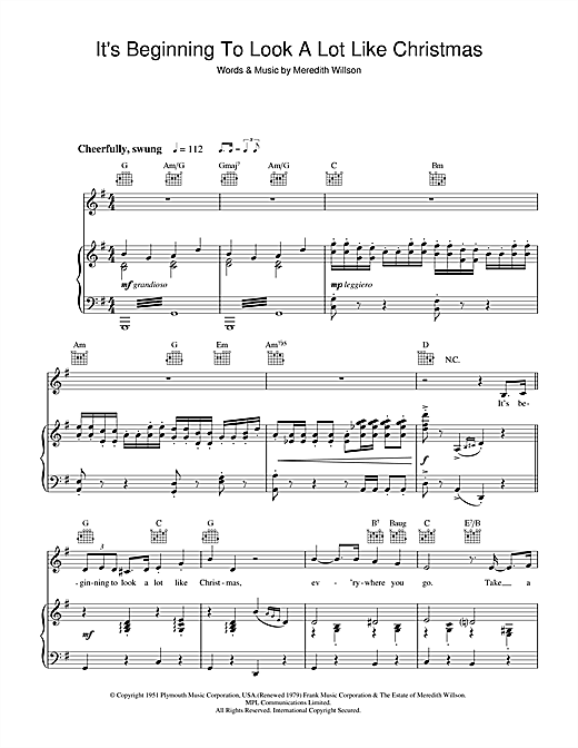 Perry Como It's Beginning To Look A Lot Like Christmas sheet music notes and chords. Download Printable PDF.