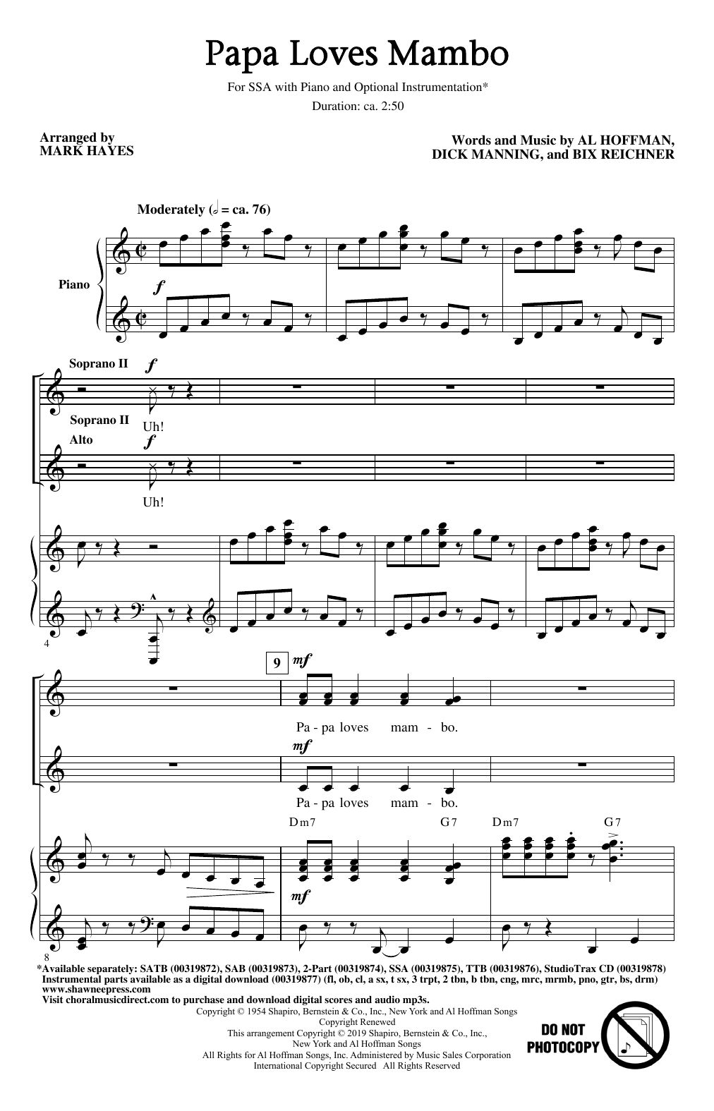 Perry Como Papa Loves Mambo (arr. Mark Hayes) sheet music notes and chords. Download Printable PDF.