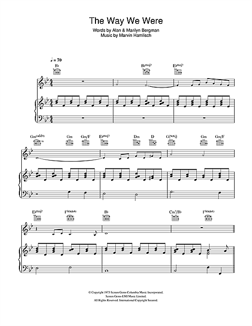 Perry Como The Way We Were sheet music notes and chords. Download Printable PDF.