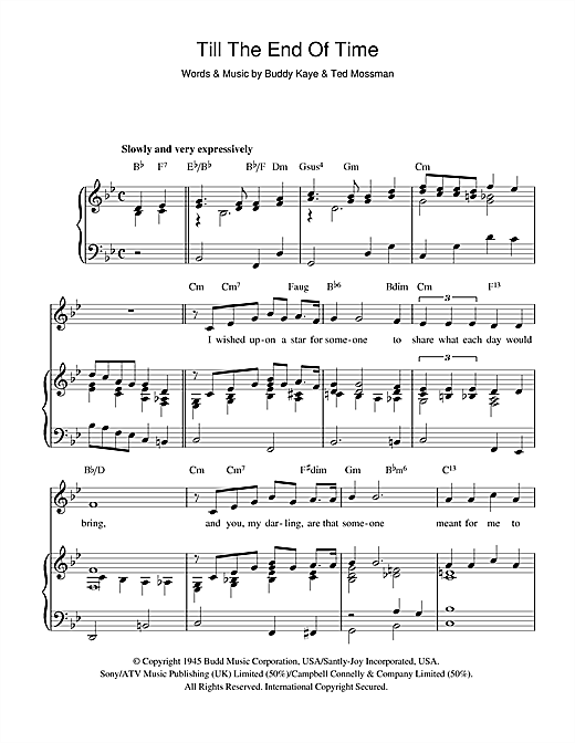 Perry Como Till The End Of Time sheet music notes and chords. Download Printable PDF.