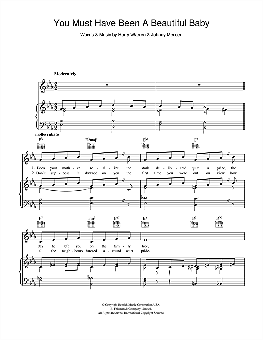 Perry Como You Must Have Been A Beautiful Baby sheet music notes and chords. Download Printable PDF.