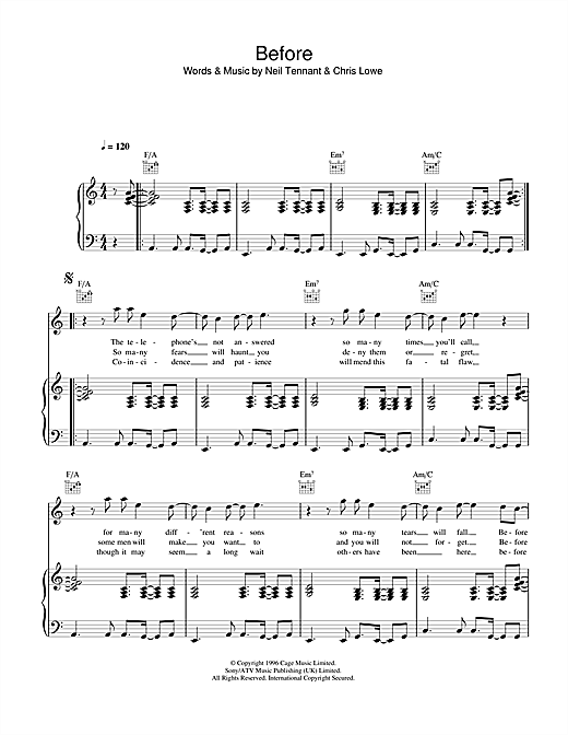 Pet Shop Boys Before sheet music notes and chords. Download Printable PDF.