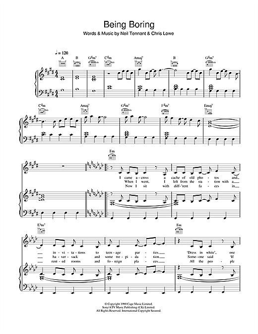 Pet Shop Boys Being Boring sheet music notes and chords. Download Printable PDF.