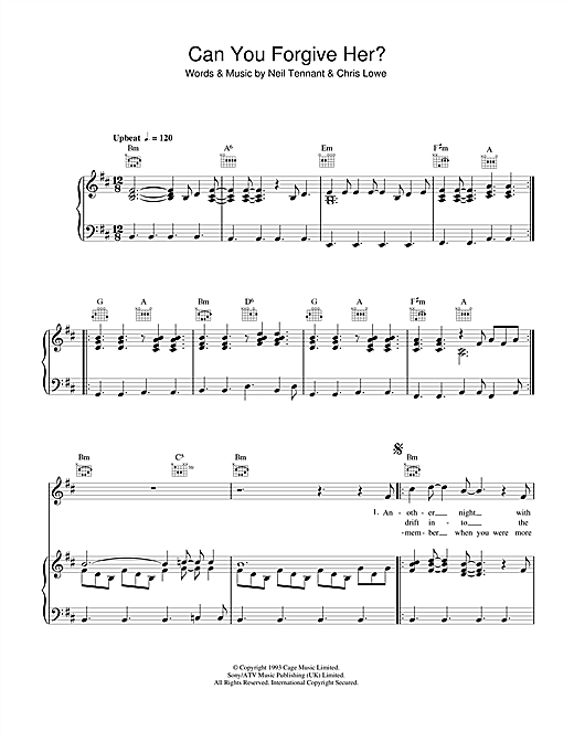 Pet Shop Boys Can You Forgive Her? sheet music notes and chords. Download Printable PDF.