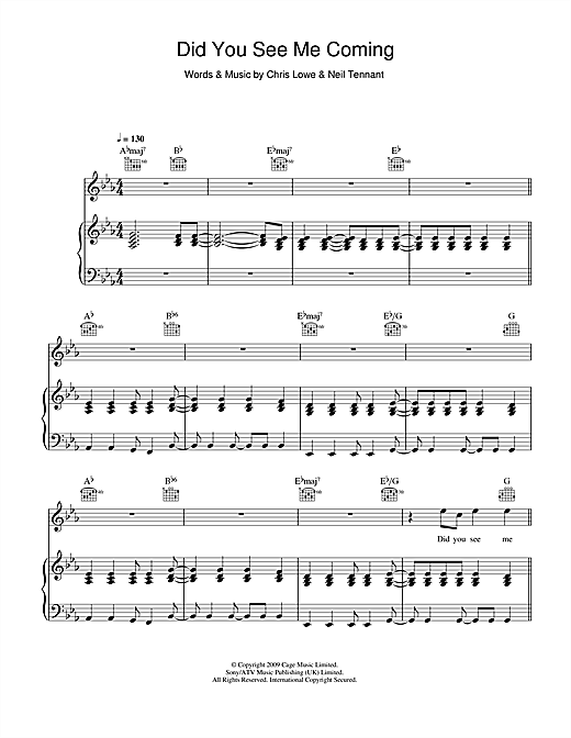 Pet Shop Boys Did You See Me Coming sheet music notes and chords. Download Printable PDF.