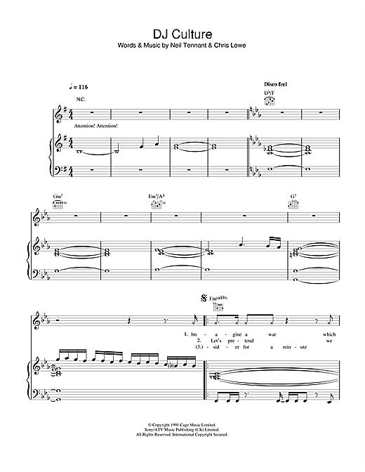 Pet Shop Boys DJ Culture sheet music notes and chords. Download Printable PDF.