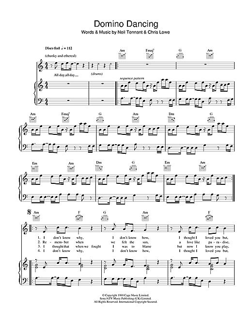 Pet Shop Boys Domino Dancing sheet music notes and chords. Download Printable PDF.