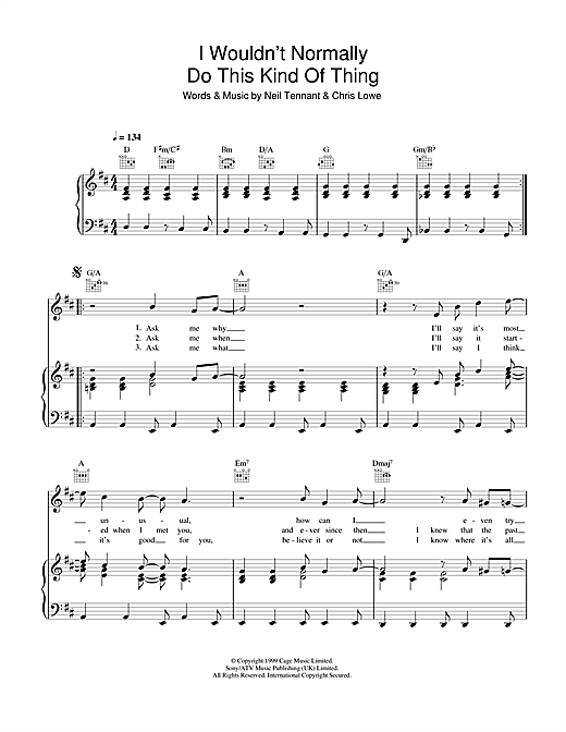 Pet Shop Boys I Wouldn't Normally Do This Kind Of Thing sheet music notes and chords. Download Printable PDF.