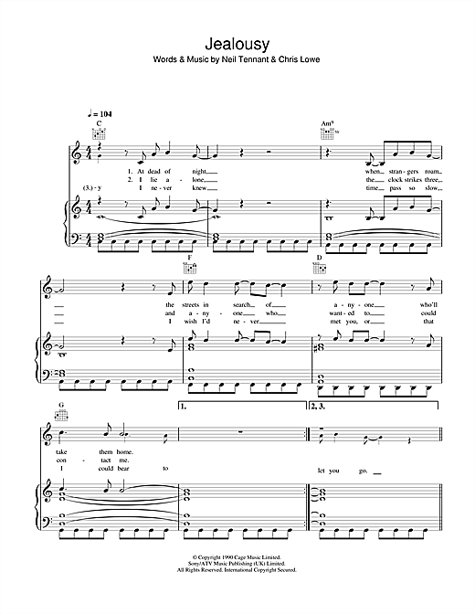 Pet Shop Boys Jealousy sheet music notes and chords. Download Printable PDF.