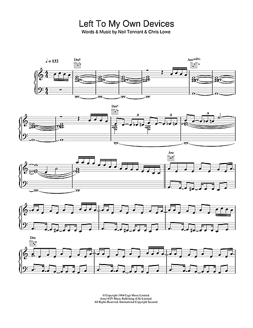 Pet Shop Boys Left To My Own Devices sheet music notes and chords. Download Printable PDF.