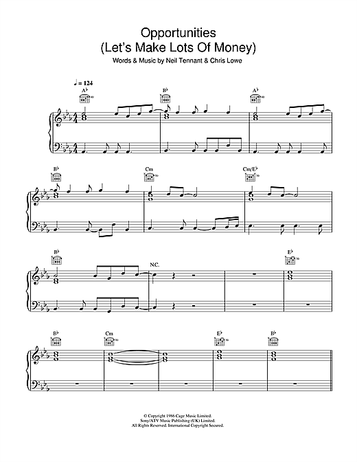 Pet Shop Boys Opportunities (Let's Make Lots Of Money) sheet music notes and chords. Download Printable PDF.
