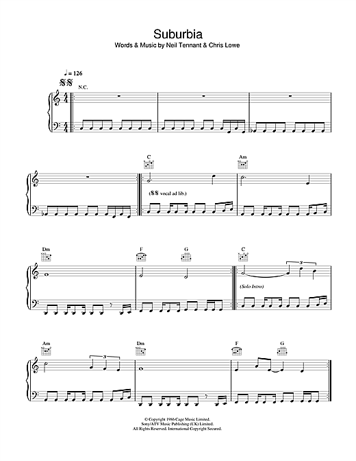 Pet Shop Boys Suburbia sheet music notes and chords. Download Printable PDF.