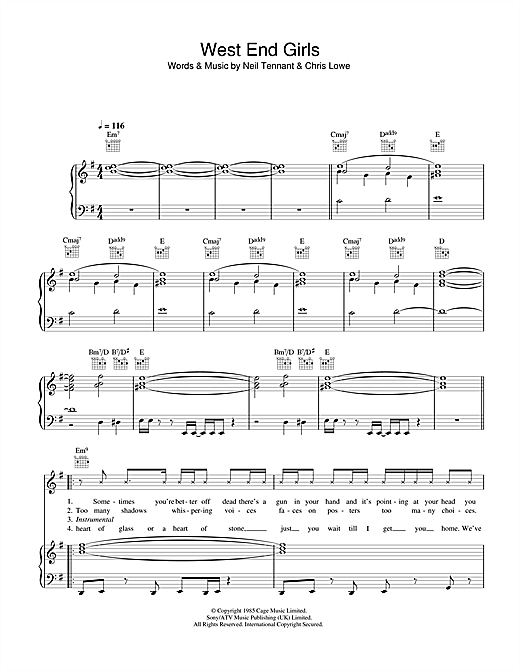 Pet Shop Boys West End Girls sheet music notes and chords. Download Printable PDF.