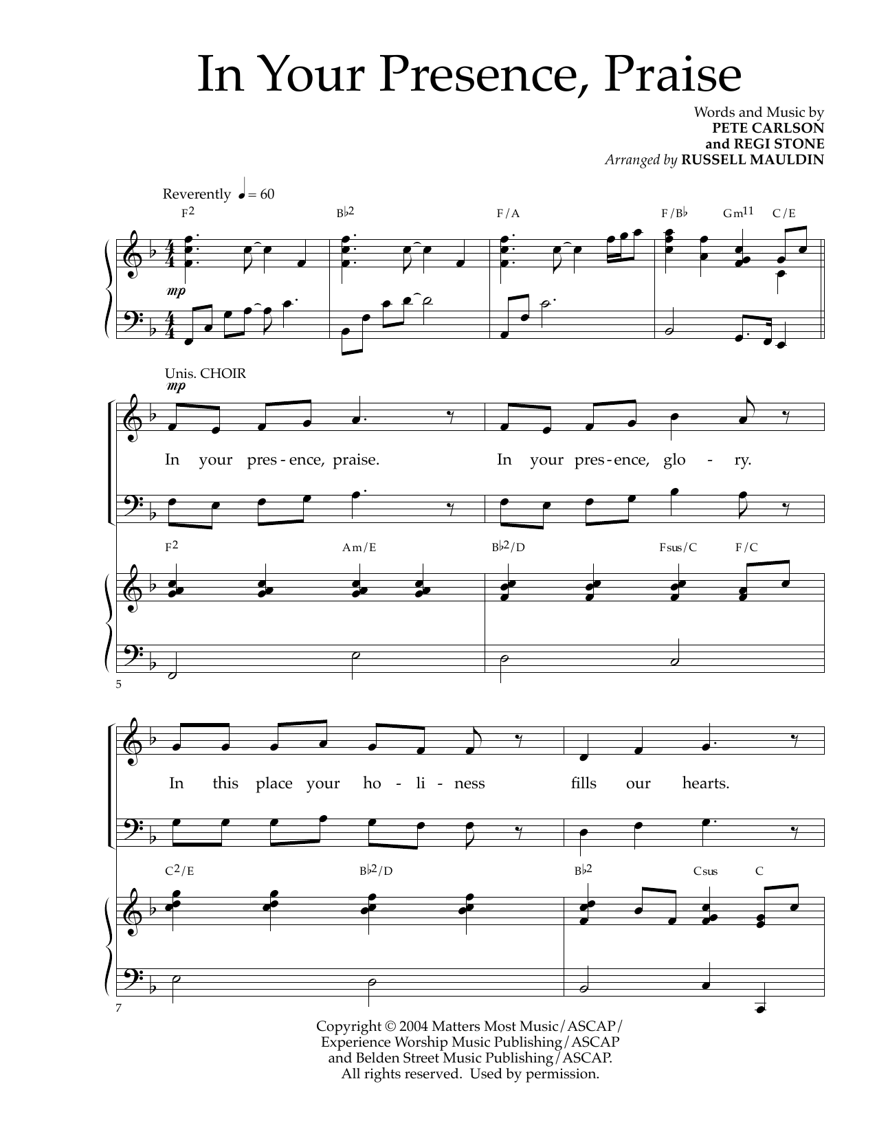 Pete Carlson and Regi Stone In Your Presence, Praise (arr. Russell Mauldin) sheet music notes and chords. Download Printable PDF.