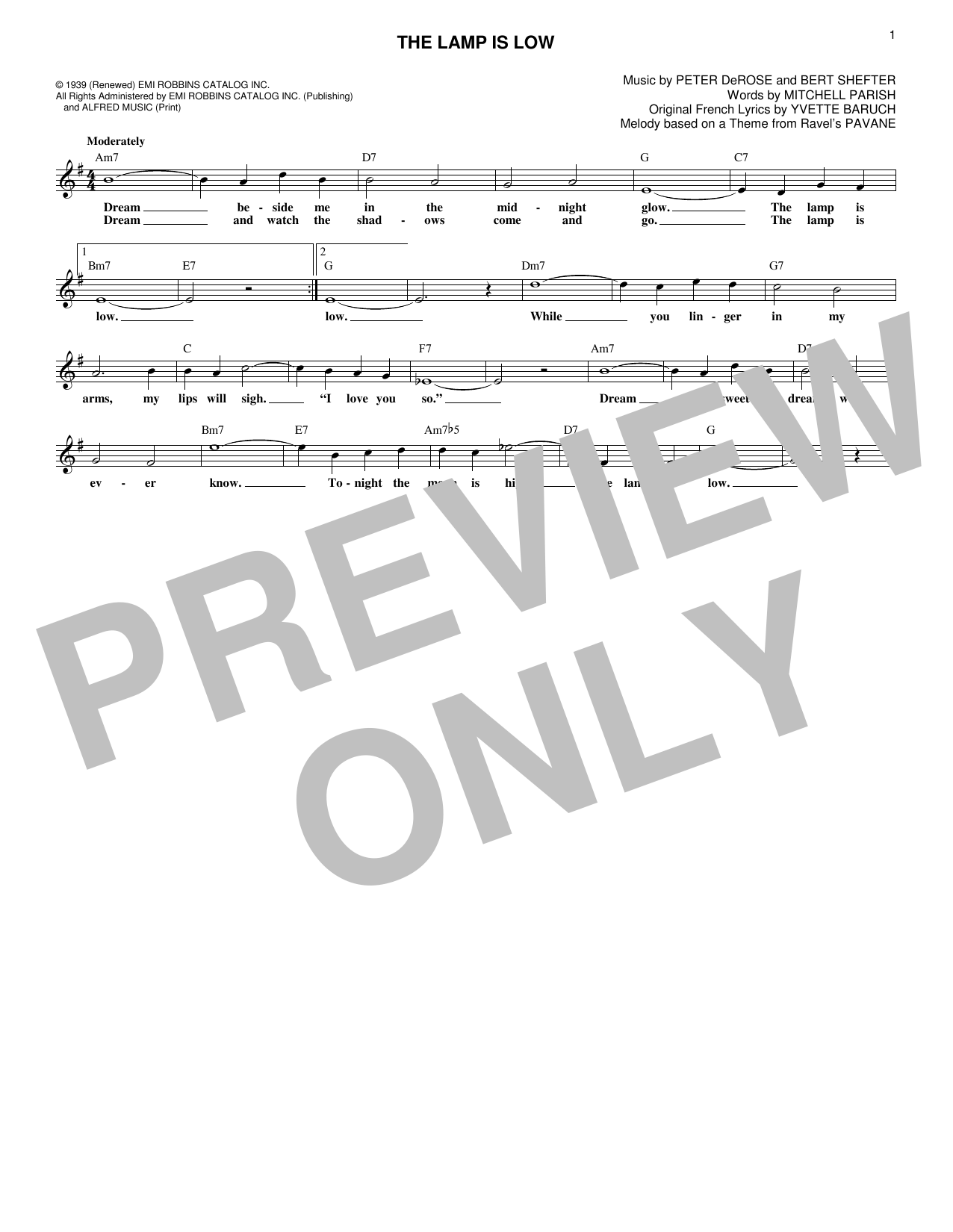 Pete DeRose The Lamp Is Low sheet music notes and chords. Download Printable PDF.