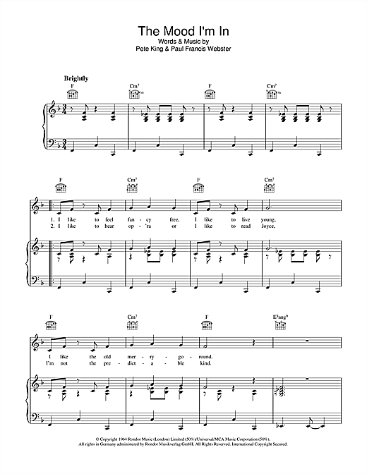 Pete King The Mood I'm In sheet music notes and chords. Download Printable PDF.