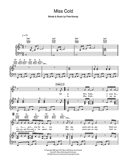 Pete Murray Miss Cold sheet music notes and chords. Download Printable PDF.