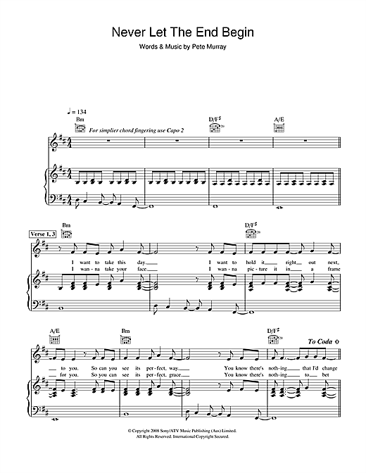 Pete Murray Never Let The End Begin sheet music notes and chords. Download Printable PDF.